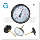 4 inch black steel back connection hvac dual bimetallic thermometers celsius