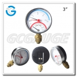 Pressure temperature combination gauges with black steel case bottom connection