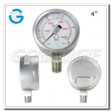 Bourdon tube liquid filled stainless steel pressure gauges with 4inch 100mm dial bottom connection